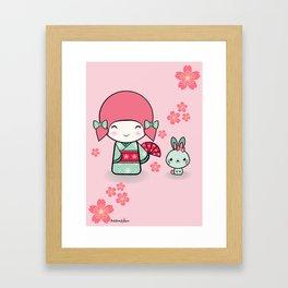 Kokeshi doll - Keiko e Usagi Framed Art Print