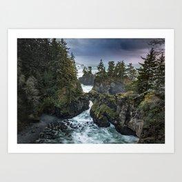 Oregon's Natural Bridges at sunset Art Print