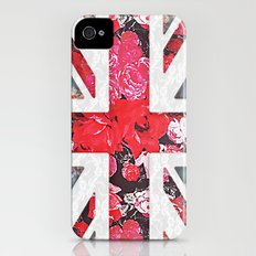 God save the Queen   Elegant girly red floral & lace Union Jack  Slim Case iPhone (4, 4s)