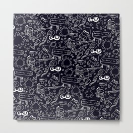 Splats 'n Guns (Black) Metal Print