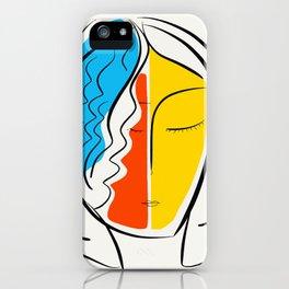 Graphic Minimal Portrait Design Orange Yellow and Blue iPhone Case