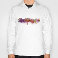 oslo Hoodies featuring Oslo skyline in watercolor background by Paulrommer