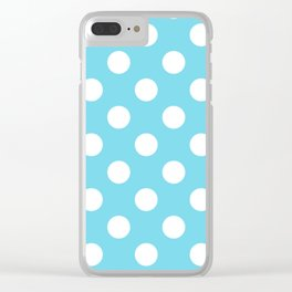 Sky blue (Crayola) - heavenly - White Polka Dots - Pois Pattern Clear iPhone Case