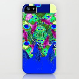 BLUE PEACOCKS & MORNING GLORIES PARALLEL YELLOW PATTERNED ART iPhone Case