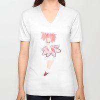 madoka V-neck T-shirts featuring Madoka flat by lazylogic