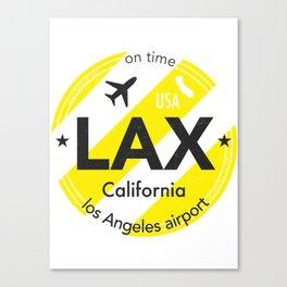 LAX Los Angeles round sticker yellow Canvas Print
