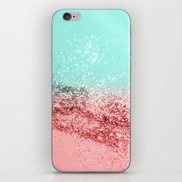 Summer Vibes Glitter #5 #coral #mint #shiny #decor #art #society6 iPhone Skin