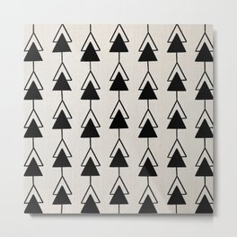 Mudcloth Black and White Geometric Shapes in White - ARROWS 2 Metal Print