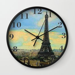 Watercolor Dream of Paris Wall Clock