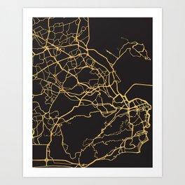 RIO DE JANEIRO BRAZIL GOLD ON BLACK CITY MAP Art Print