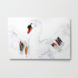 Fisherman Swan Metal Print