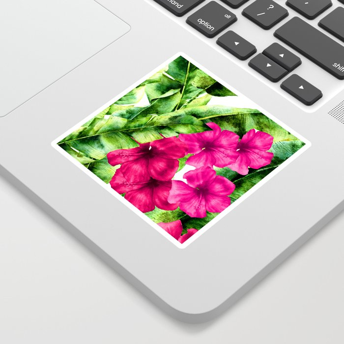 green banana palm leaves and pink flowers Sticker