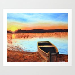 Sunset over the Marshes Art Print