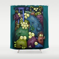aliens Shower Curtains featuring Crowded Aliens by Billy Allison