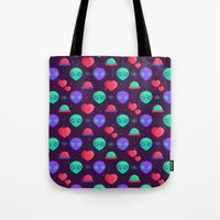 kawaii Tote Bags featuring Kawaii Aliens by badOdds