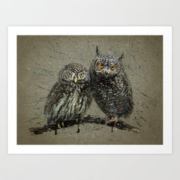 Little owl's background Art Print