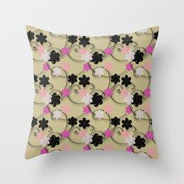 Pink White Black Flower Pattern Throw Pillow
