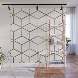 White and Gold - Geometric Cube Design Wall Mural