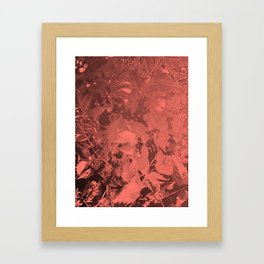 Leaves on shades of coral Framed Art Print