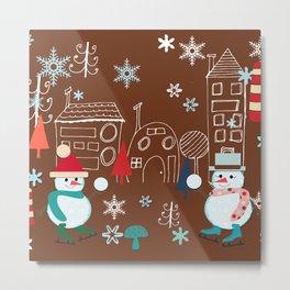 winter fun brown Metal Print