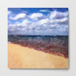 Beach Under Blue Skies Metal Print
