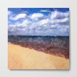 Beach Under Blue Skies Metal Print