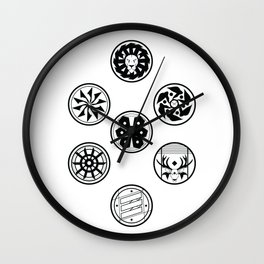 Factions black & white Wall Clock