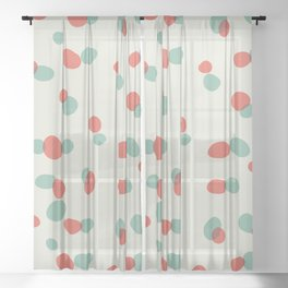 Speckle Sweetness ~ coral & h20 Sheer Curtain