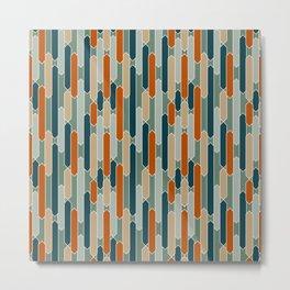 Modern Tabs in Dark Teal, Burnt Orange, Olive Metal Print