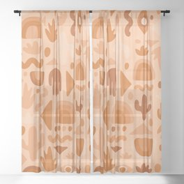 Orange Cutout Print Sheer Curtain