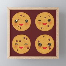 Kawaii Chocolate chip cookie Framed Mini Art Print