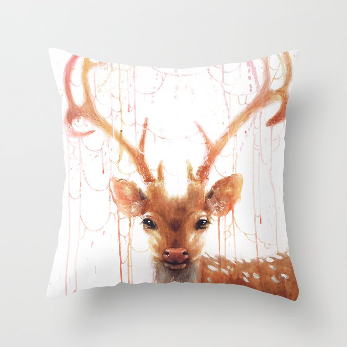Terrific Fairy Deer Throw Pillow Inzonedesignstudio Interior Chair Design Inzonedesignstudiocom