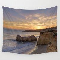 portugal Wall Tapestries featuring Praia da Rocha dusk, Portugal by Michael Howard