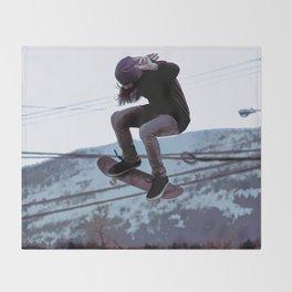 High Flying Skateboarder Throw Blanket