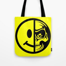 Smiley Face Skull Yellow Tote Bag