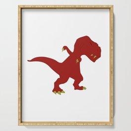 Funny Red Dabbing T-Rex Jurassic Jura Dinosaur Design Serving Tray