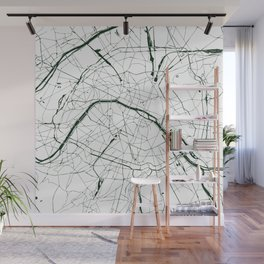 Paris France Minimal Street Map - Forest Green and White Wall Mural