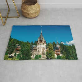 Peles Palace In Transylvania, Architecture Photography, Medieval Castle, Mountain Landscape, Romania Rug