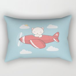 Kawaii Cute Flying Cat Rectangular Pillow