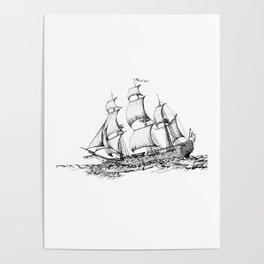 sailing ship . Home decor Graphicdesign Poster