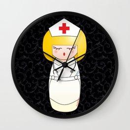 Kokeshi Blonde nurse Wall Clock