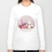 macaroon Long Sleeve T-shirts featuring Sweet pink doom - still life by josemanuelerre