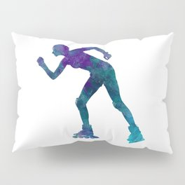 Woman in roller skates 06 in watercolor Pillow Sham