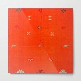 N6 | Vintage Orange Anthropologie Moroccan Artwork. Metal Print