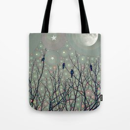 A Dawning with black birds lights on bare branches stars and gibbous moon  Tote Bag