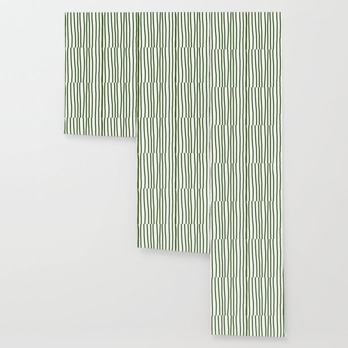 Simply Drawn Vertical Stripes in Jungle Green Wallpaper