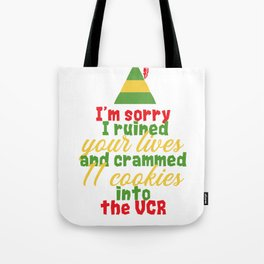 """I'm sorry i ruined your lives and crammed 1 cookies into the vcr"" Festive Christmas Elf Design Tote Bag"