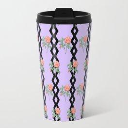 Stem Rose Watercolor Pattern Lavender Travel Mug