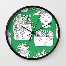Illustrated Plant Faces in Kelly Green Wall Clock
