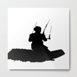 Wakeboarder Kitesurfing Silhouette Metal Print